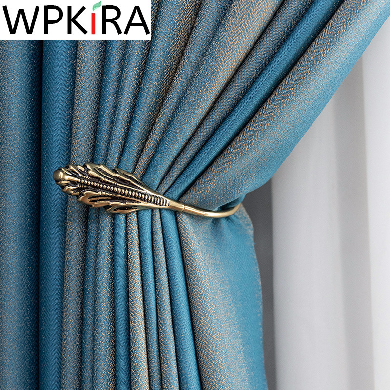 High end Luxury Blue Stripe Blackout Curtains for Living room Bedroom Modern Gold Jacquard Fabric Window Drapes Custom ZH226H