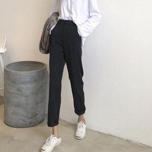 Image 4 - Женские однотонные брюки, подходящие ко всему брюки до щиколотки, женские тонкие элегантные прямые модные брюки в Корейском стиле на молнии, 2020