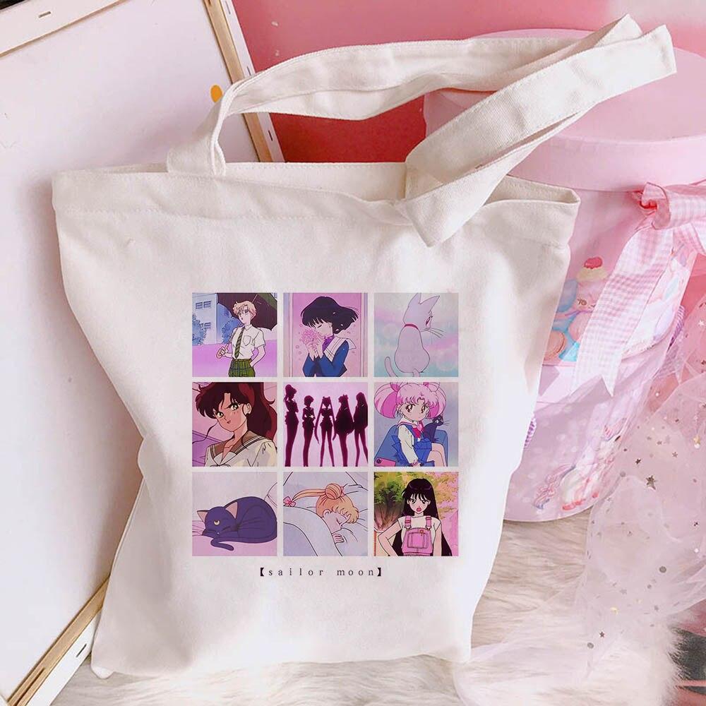 Japanese Sailor Moon Large Capacity Harajuku Casual Ulzzang Women Canvas Summer Chic Cartoon Shoulder Bags