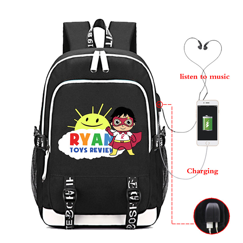 Ryan Toys Review USB Backpack Teenager Capacity Bags Student's School Book Bags Fans Travel Bags Laptop Bag Mochila Feminina image