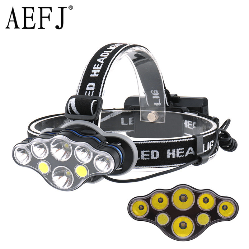 AEFJ Super Bright Lightweight T6 COB 8*LED Headlamp Headlight Use 18650 Battery Head Lamp Waterproof Hunting Flashlight Torch