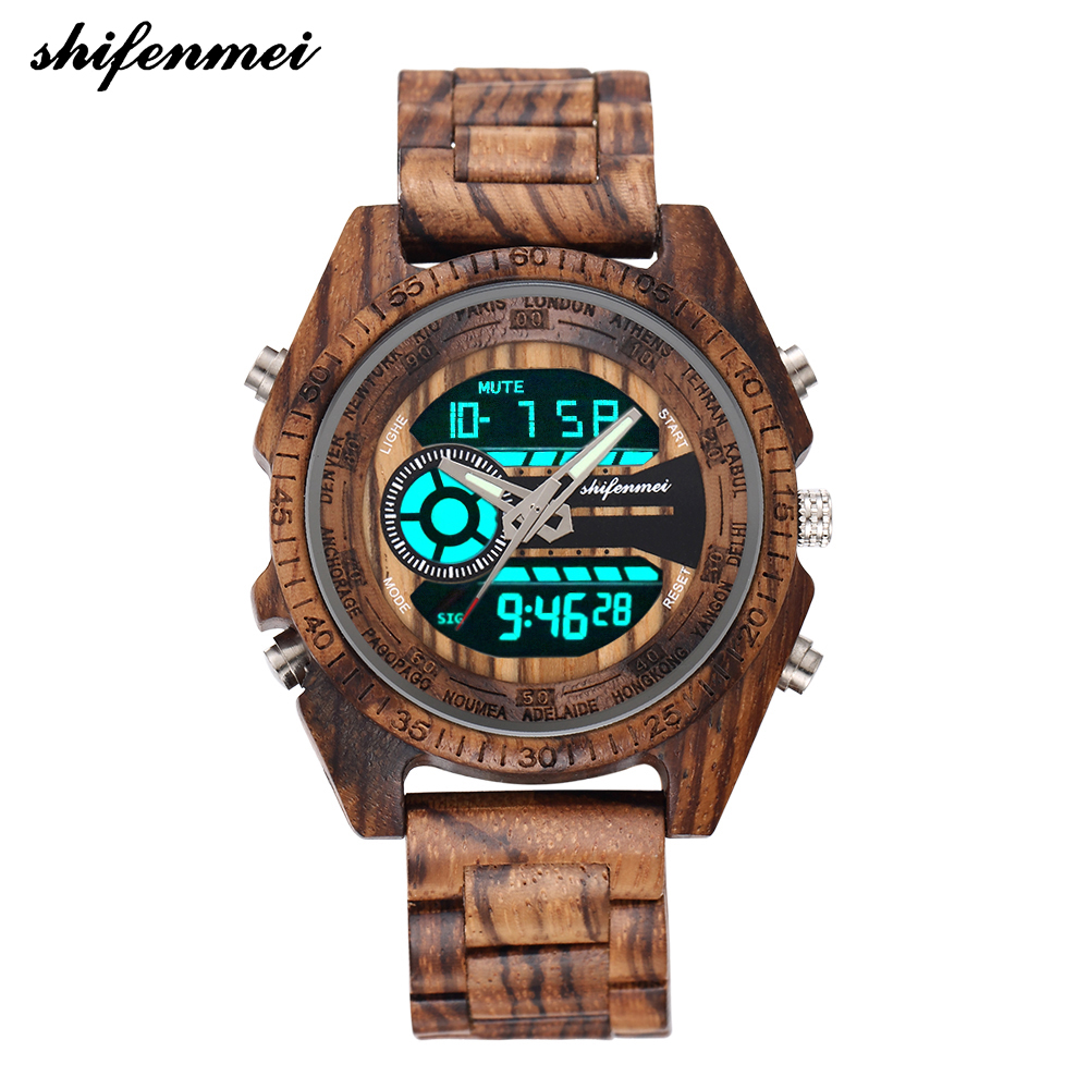 Shifenmei S2139W Antique Natural Digital Men Watches LED Display Engraved Wooden Luminous Hand Boys Watches Brand Male Female
