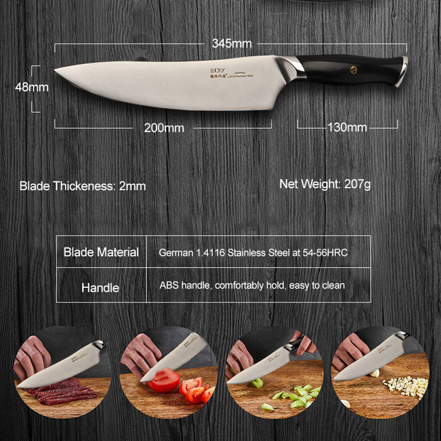Chef Kitchen Gyuto knife German Stainless steel Super Sharp Cleaver Fish Meat Filleting Cutting Slicer Chopping Cooking Tool 34