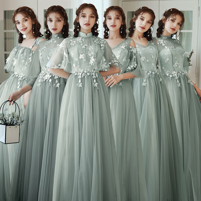 Bridesmaid Dresses Green Embroidery A-Line Wedding Guest Dress Hight Neck Half Sleeve Vestidos Floor Length Formal Gowns R067