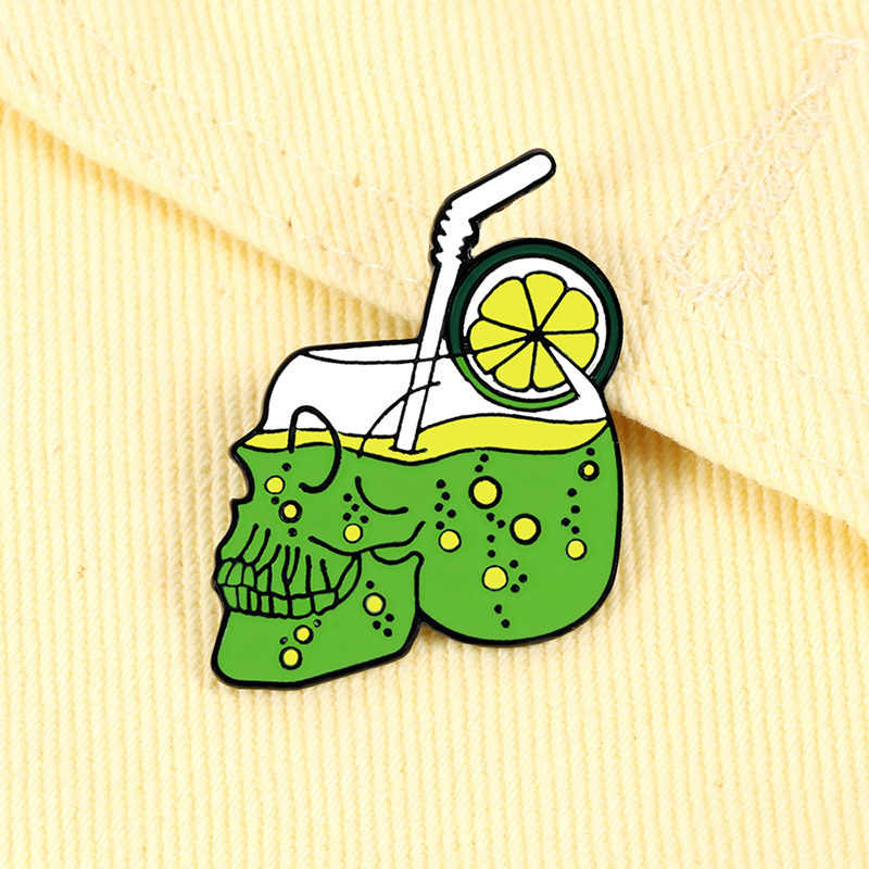 Creative Drink Skull Cup Brooches Cartoon Lemon Green Juice Sparkling Water Enamel Pins Holiday Beach Punk Jewelry Lapel Badges