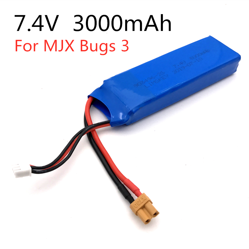 Super Upgrade <font><b>7.4V</b></font> 25C <font><b>3000mAh</b></font> <font><b>Battery</b></font> Rechargeable MJX Bugs 3 RC Quadcopter Spare Parts <font><b>Lipo</b></font> <font><b>Battery</b></font> Upgrade <font><b>7.4v</b></font> 1800mah image