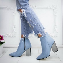 LASPERAL Women Shoes Ankle Pumps Flock Toe Boots Solid Autum