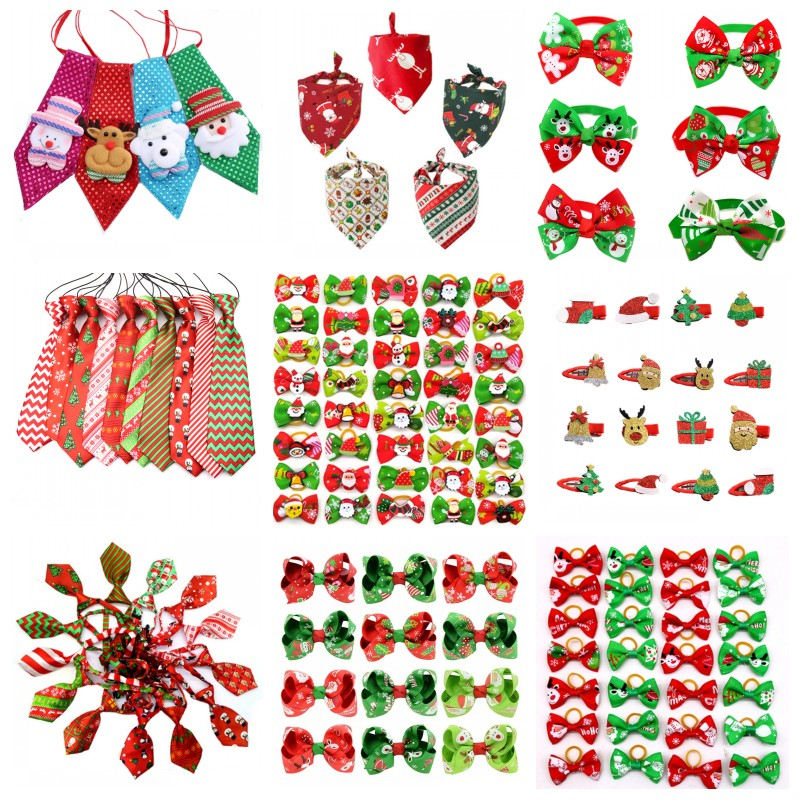 50pcs Christmas Pet Products Dog Bows Cat Dog Pet Bow Tie Bandana for Holiday Small Dog Grooming Accessories Large Dog Supplies