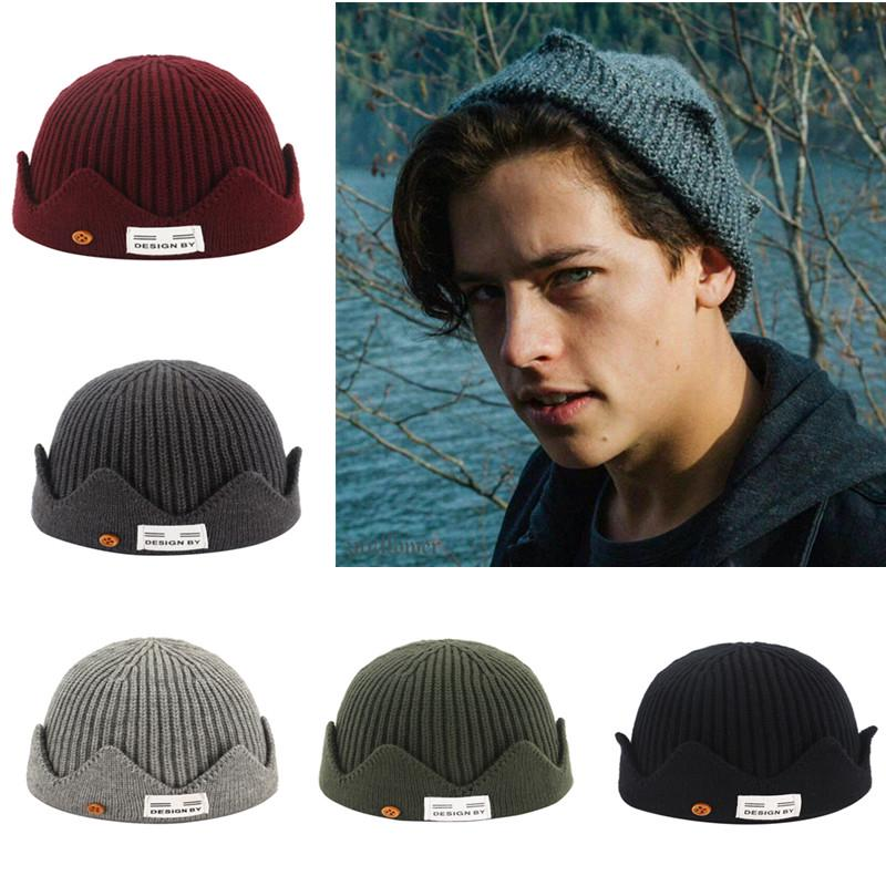 New Unisex Sailor Style Hemming Hat Crown Design Casual Fishermans Beanie Cap Warm Winter Hats For Men & Women Knitted Hat
