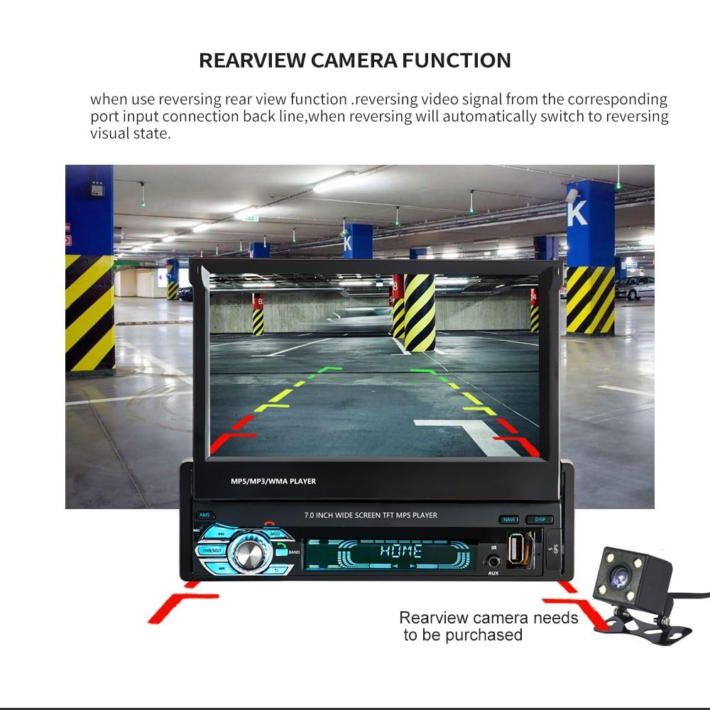 Podofo One din Car radio MP5 Player GPS Navigation Multimedia car audio stereo Bluetooth 7 HD Retractable Autoradio AUX-IN FM (8)