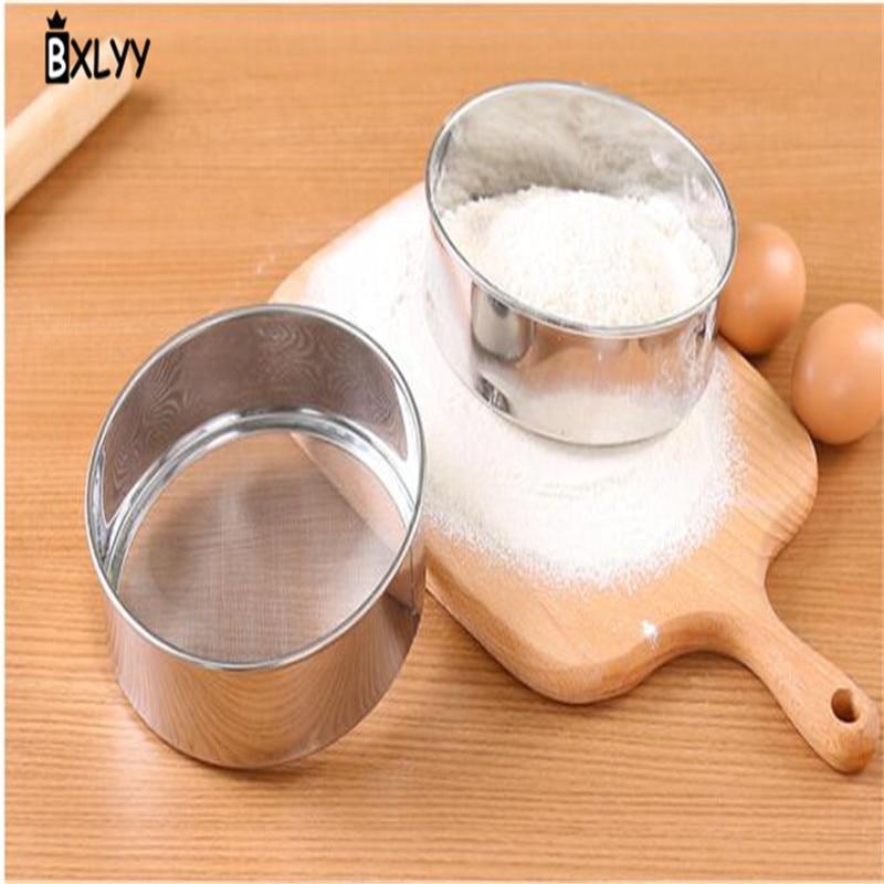 BXLYY 1pc Stainless Steel Flour Sieve Kitchen Accessories Baking Tools Hand-held Flour Sieve Pastry Supplies Cake Baking Dish.7z