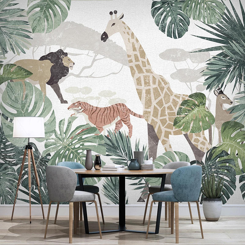 Custom Photo Nordic Tropical Plant Banana Leaf Animal Lion Tiger Giraffe Mural Living Room Bedroom Home Decoration Wall Paper 3D