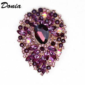 Donia jewelry Fashion hot brooch color glass brooch large crystal glass brooch women's clothing accessories six-color scarf pin