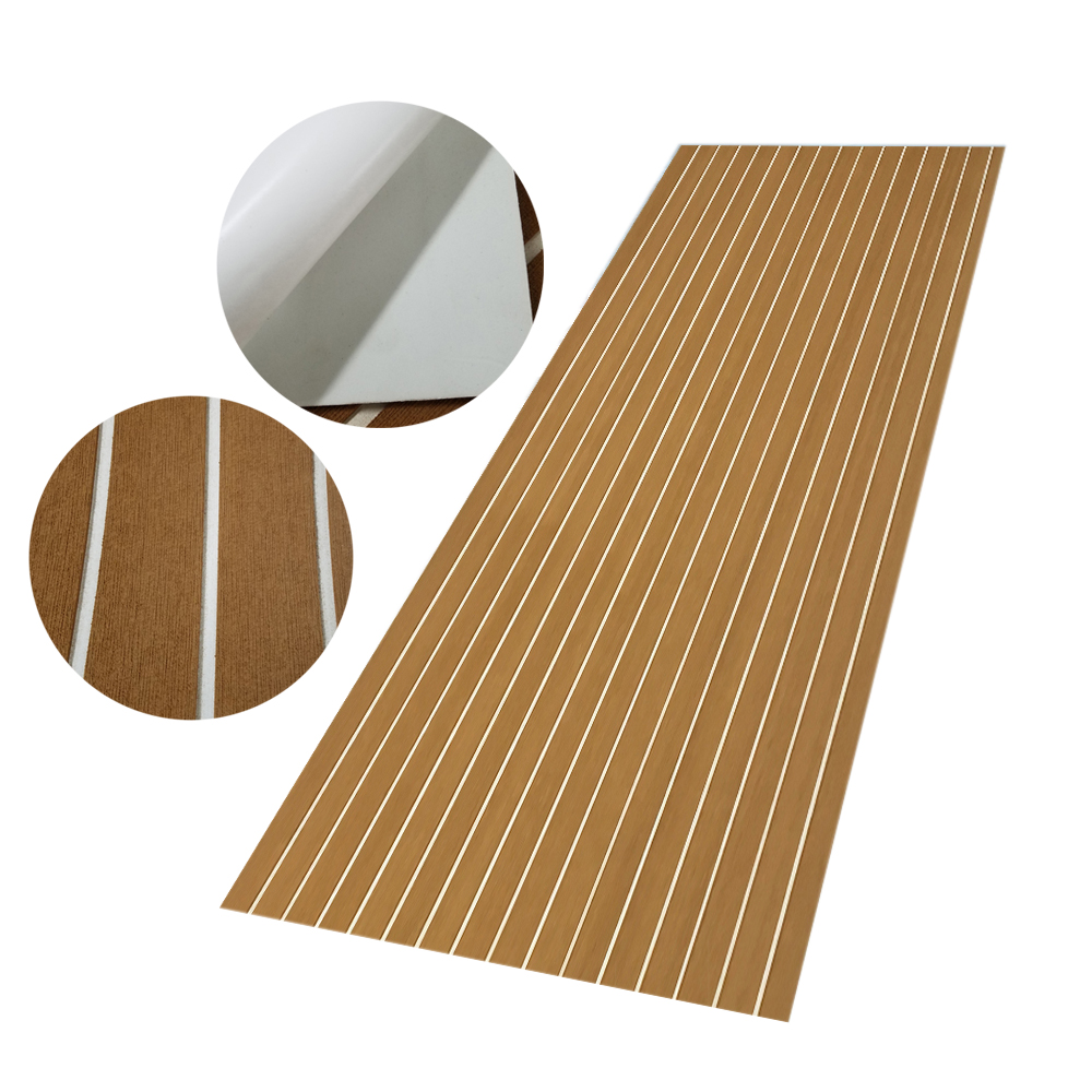 EVA Foam Teak Decking Sheet Brown with White Yacht Marine Carpet Flooring Mat Non Skid Self Adhesive Sea Deck Boat Accessories