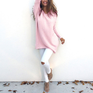 2019 Autumn Winter Europe And The United States Fashion V-Neck Long-Sleeved Women'S Sweater Knitted Long Top Sweaters