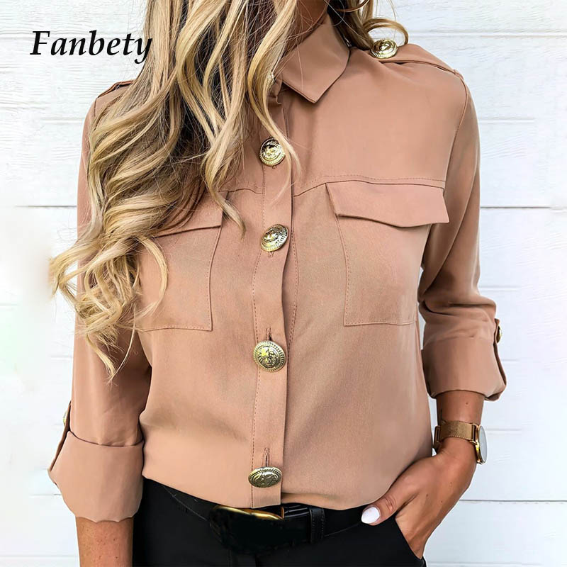 Office Lady Solid Button Pockets Blouse Shirts Women Casual Trun Down Collar Autumn Tops Women New Adjustable Long Sleeve Shirts