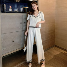 2020 Summer Women Knitted Pants Set Sweaters 2pcs Suits Short Sleeve Striped Single-breasted Cardigan Top+Wide-leg Trousers Set(China)