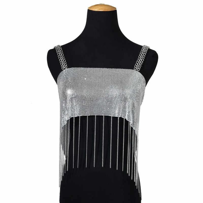 2019 ฤดูร้อนสไตล์เซ็กซี่ผู้หญิงเสื้อผ้าสปาเก็ตตี้ Sequined Rose Gold Crop สุภาพสตรี Top สีดำสั้น Clubwear