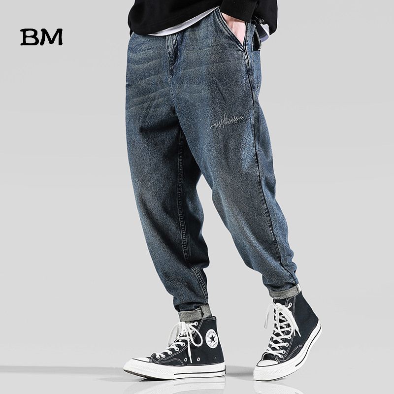 BM Streetwear Jeans Men Clothes Korean Style Fashions Harem Pants Hight Quality Harajuku Trousers Hip Hop Blue Overalls Jeans