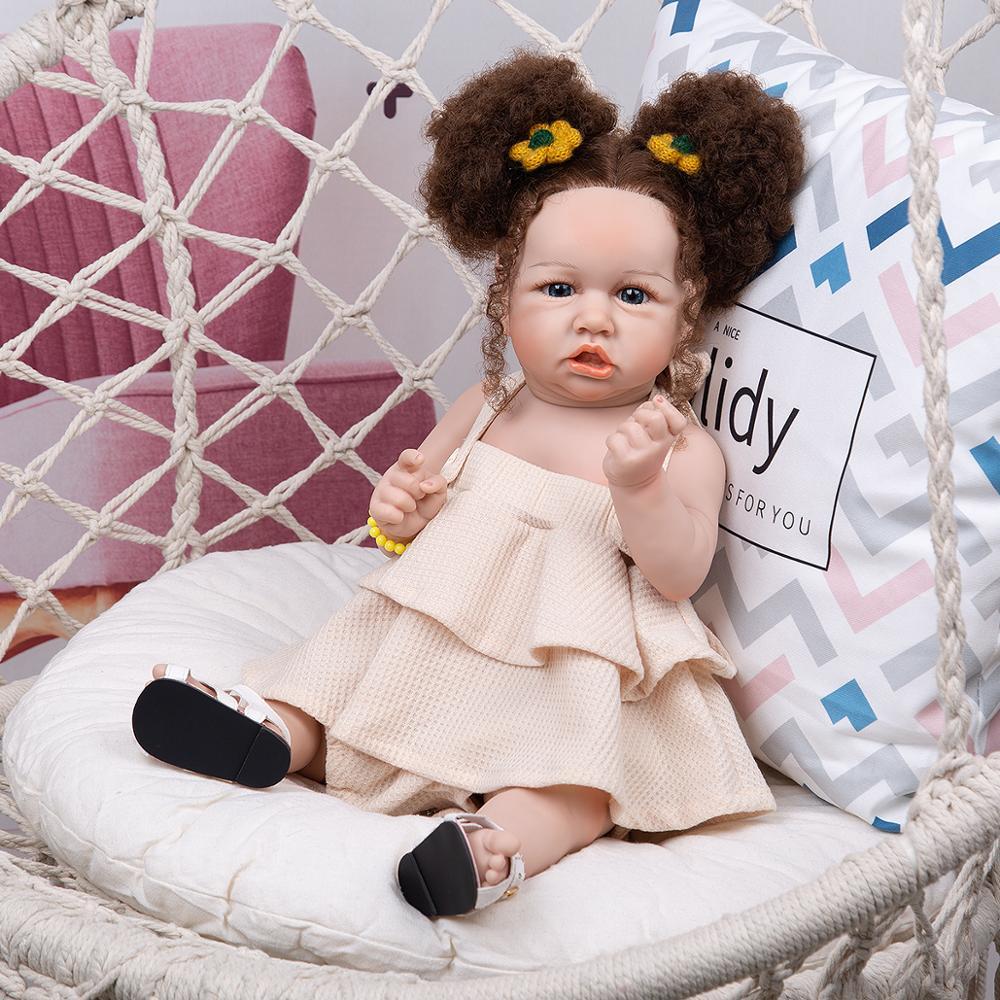 Neue Stil KEIUMI Weiche Silikon Reborn Baby Puppen Real Touch 57 CM Mit Verwurzelt Faser Haar Neugeborenen Bebe Spielzeug Kinder geburtstag Geschenk