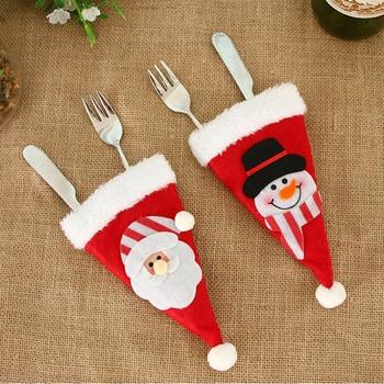 2020 New Christmas Hat Cutlery Fork Spoon Pocket Christmas Decoration Bag Santa Snowman Cutlery Storage Decorative Bag