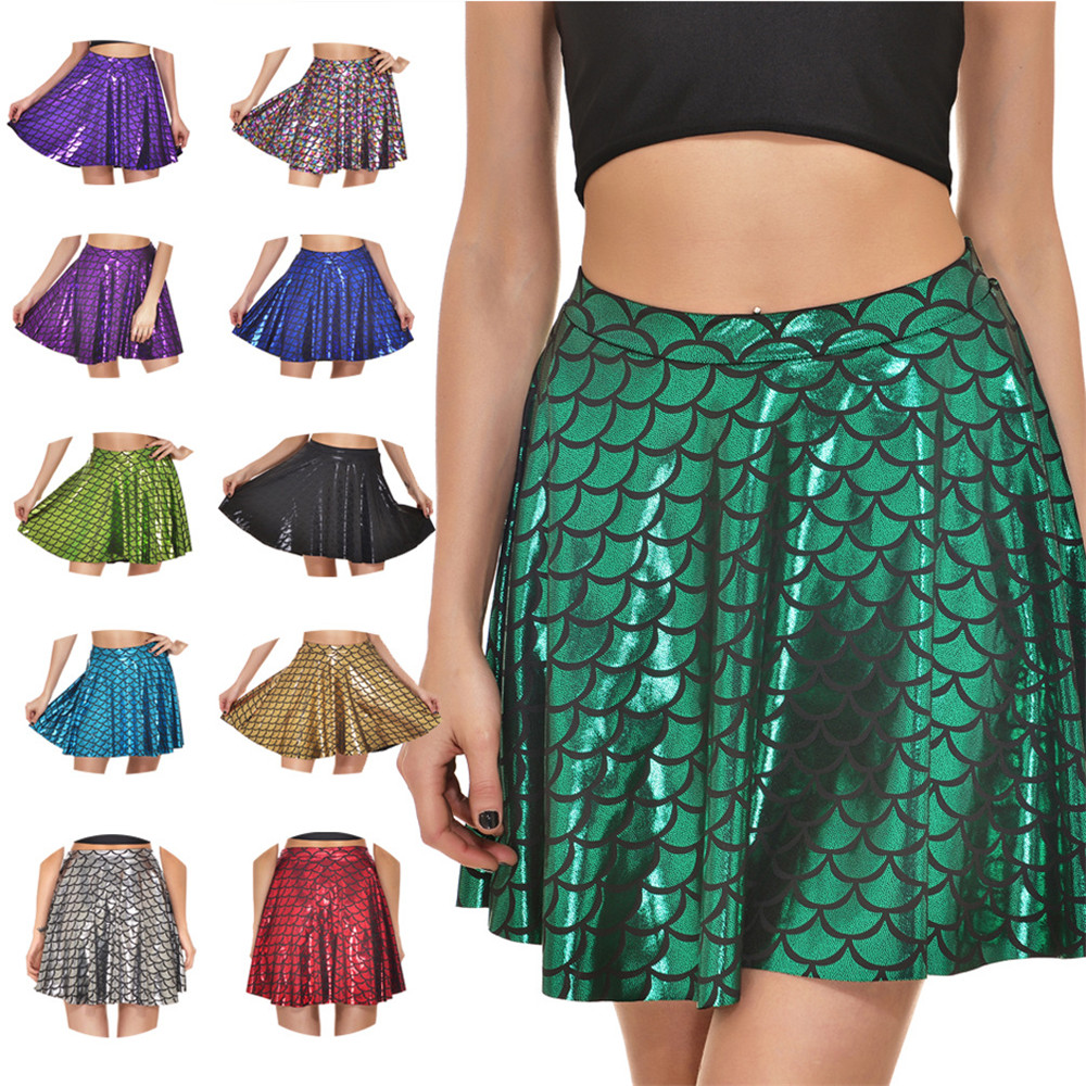 Cosplay Mermaid Fishscale Skirt Black Blue Red Gray Yellow Skirt For Women Girls Party Costume Halloween 3D Printed Fish Scales