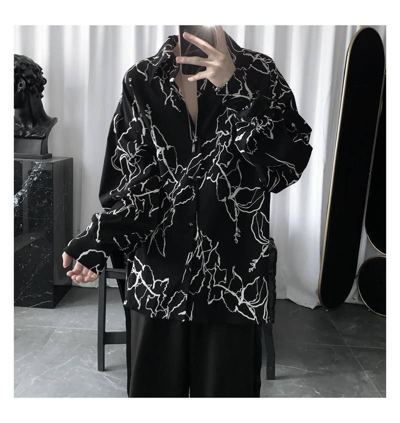 NiceMix Harajuku Men Shirts BF Style Blouse Korean Printing Streetwear Hip-hop Shirt 2020 Spring Summer Retro Couples Top Blusas