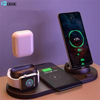 Dock Station per caricabatterie Wireless DCAE 6 in 1 per telefoni USB iPhone/Android/type-c 10W Qi ricarica rapida per Apple Watch AirPods Pro