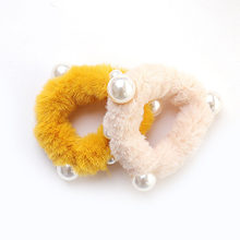 1PC Faux Rabbit Fur Hair Rope Hair Ring Soft Candy Color Pearl Plush Scrunchie Women Winter Hair Accessories Girs Rubber Bands(China)