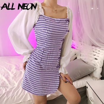 ALLNeon Vintage Ladies Plaid Puff Sleeve Mini Dress Patchwork Chinese Buttons Slit Hem Purple Dresses Sweet Summer Party Club girls zip back raw hem plaid dress