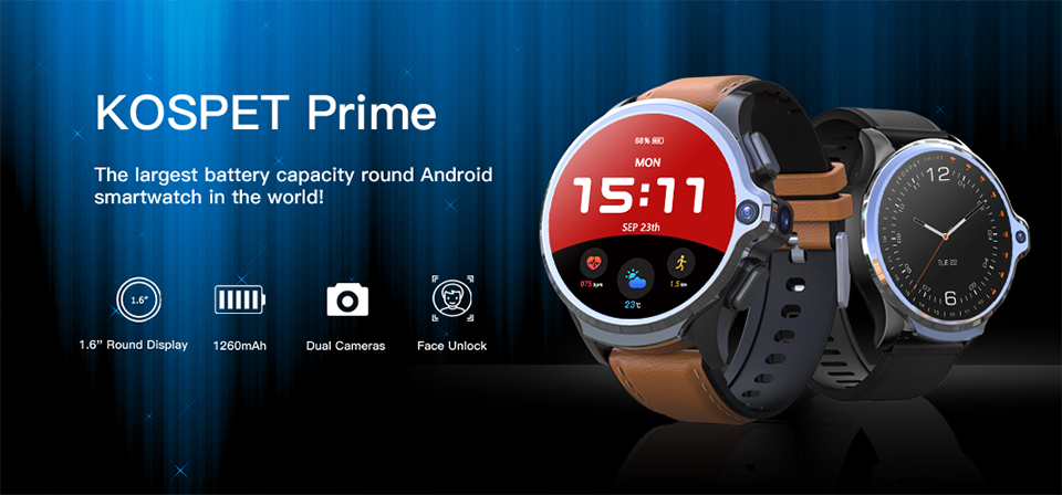 KOSPET Prime 3GB to 32GB Smart Watch for Men with Dual Camera and Face ID Detection 6