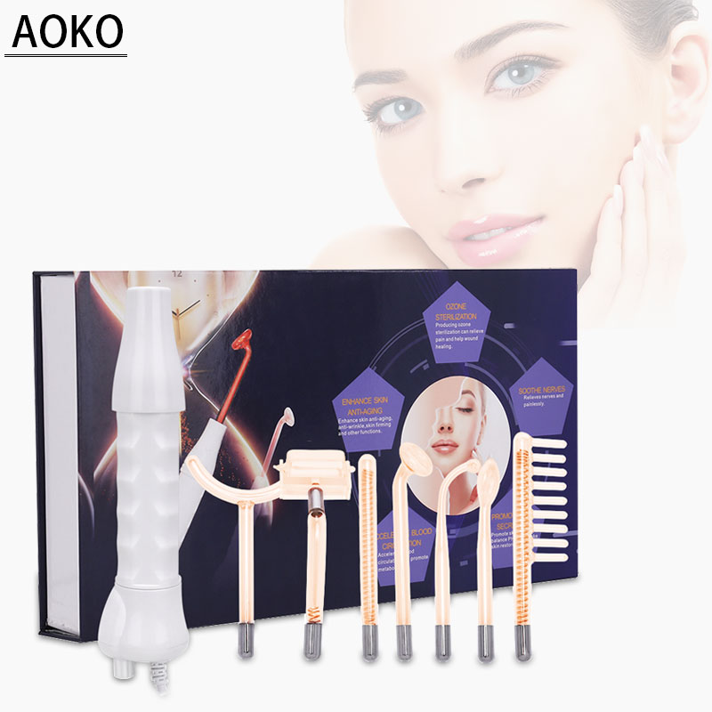 AOKO 7 in 1 High Frequency Electrode Glass Tube Electrotherapy Beauty Machine Anti-acne Skin Care Facial Body Salon Home Massage