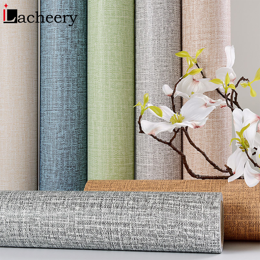 Vinyl Decorative Film Solid Color Linen Self Adhesive Wallpaper Modern Living Room Decor Sticker Bedroom Waterproof Wallcovering