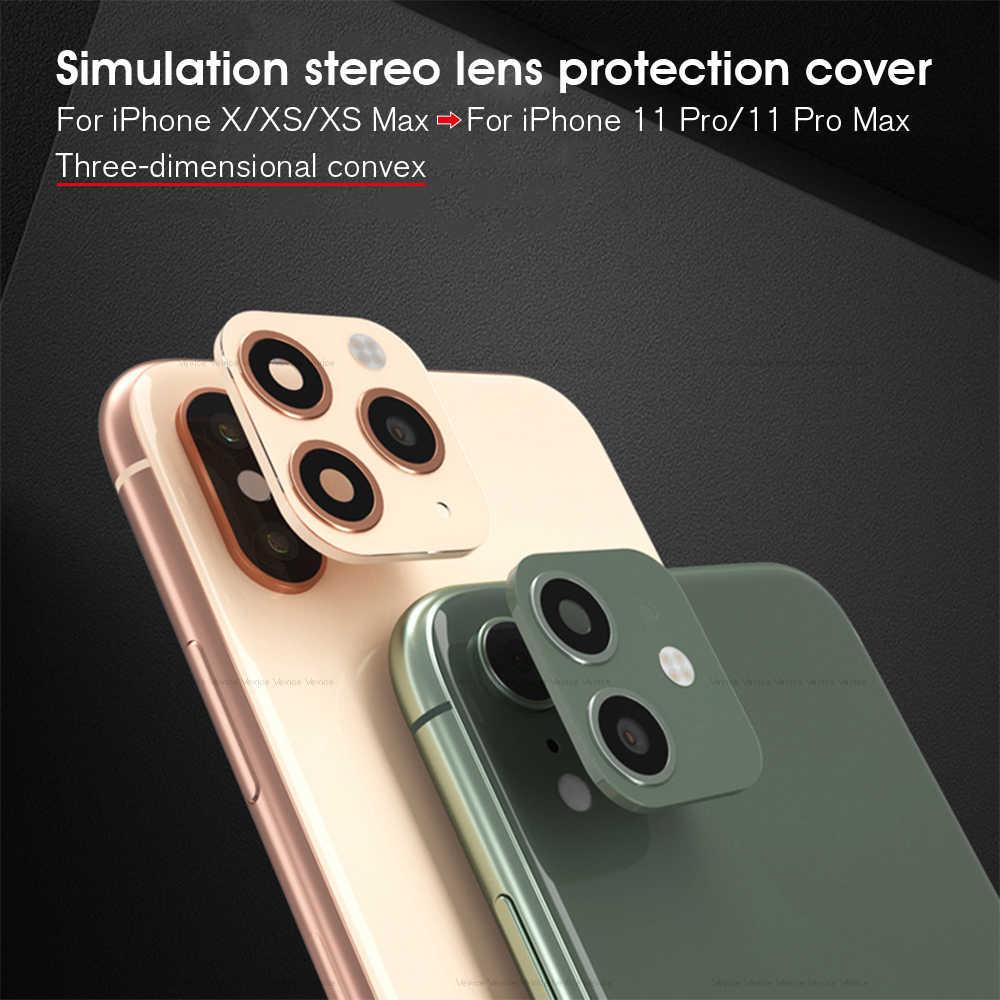 Lensa Kamera Detik Perubahan PENUTUP UNTUK iPhone 11 Pro Max Metal Palsu Stiker Kamera Cincin untuk iPhone X XS XR XS Max Pelindung Lensa