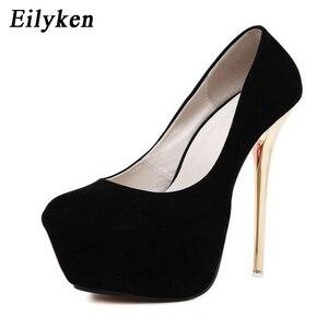 Image 1 - Eilyken Sexy Pumps Wedding Women Fetish Shoes Concise Woman Pumps Latform Very High Heel Stripper Flock Pumps 16 cm size 34 45