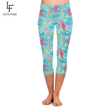 LETSFIND 2020 New Hot Sale Milk Silk Mermaid Digital Print Women Capri Leggings High Waist Plus Size Female Mid-Calf 3/4 Legging - discount item  20% OFF Leggings
