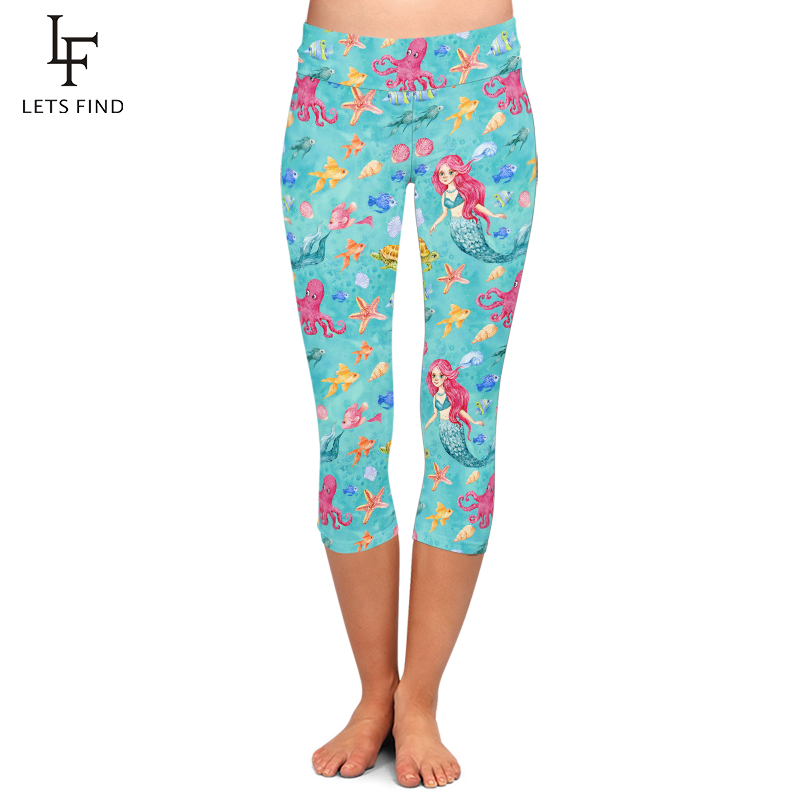 LETSFIND 2020 New Hot Sale Milk Silk Mermaid Digital Print Women Capri Leggings High Waist Plus Size Female Mid-Calf 3/4 Legging