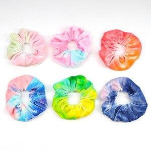 Soft Plush Velvet Hair Scrunchie Loop Holder Stretchy Hair Band Tie Dye Women Rainbow Hair Accessories Elastic Hairbands(China)