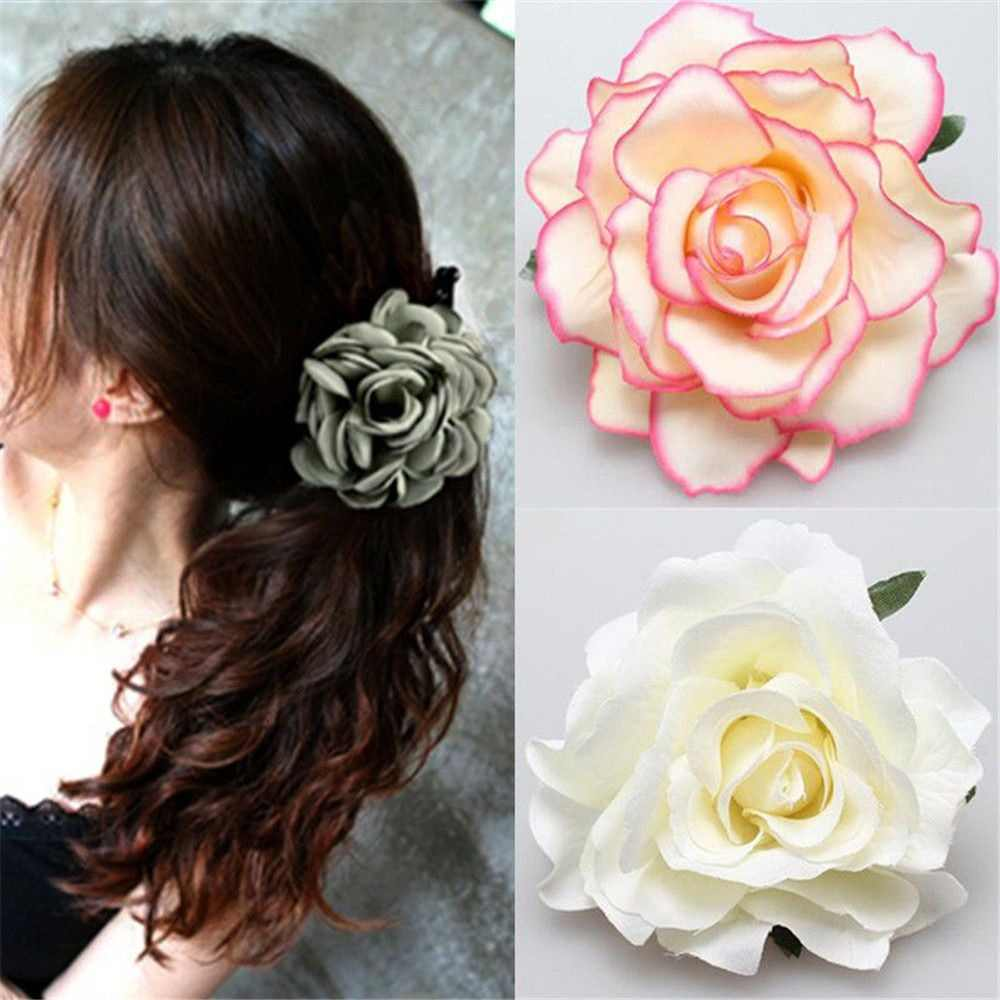 Bridal Rose Flower Hairpin Brooch Wedding Bridesmaid Party Hair Clip Accessories