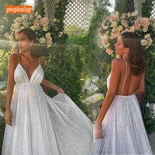Elegant Ivory Bohemian Women Wedding Gowns 2019 Wedding Dress Party V-Neck Bling Tulle Backless Ankle Length Cheap Bride Dresses