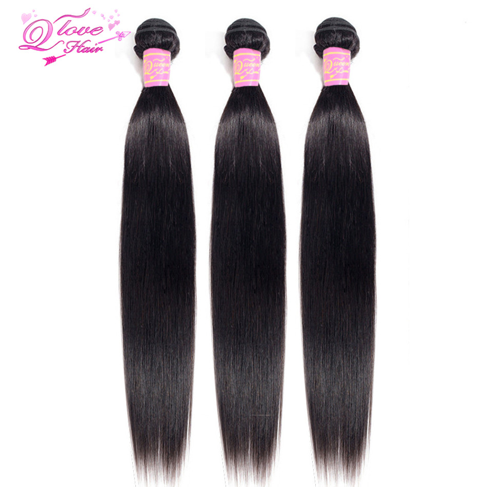 Queen Love Hair Brazilian Straight Hair Weave Bundles Double Weft 1/3/4 PCS Natural Color 8-30 Inch Non Remy Hair Weave Bundles