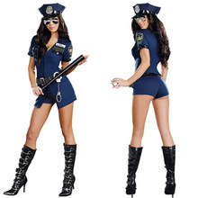 Policewoman Sexy Police Officer Cosplay Costume Halloween Policewoman Cosplay Bodysuit Fancy Dress Uniform With Handcuffs(China)