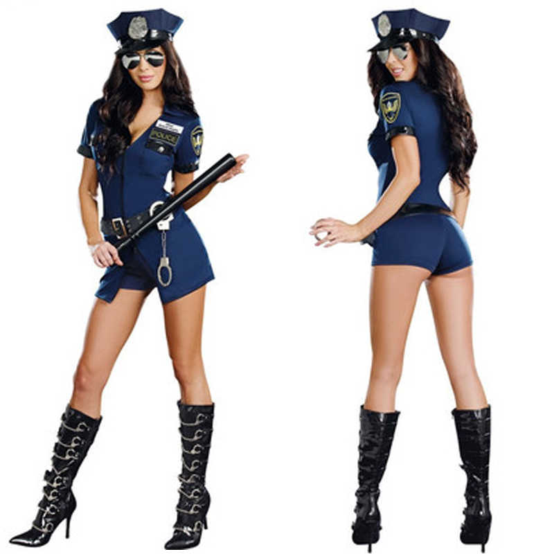 Policewoman Sexy Police Officer Cosplay Costume Halloween Policewoman Cosplay Bodysuit Fancy Dress Uniform With Handcuffs