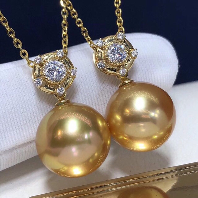 Pearl Pendant 12-13mm Fine Jewelry 18K Gold Natural Ocean Golden Pearl Pendant Necklaces for Women FIne Pearls Pendants 6