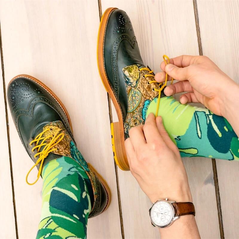 Brogue, novedad, alta calidad, piel auténtica, Color, mezcla de zapatos para hombre, mocasines de hombre, zapatos de cuero D223 Zapatos náuticos de cuero de color verde militar para hombre, zapatos con cordones a la moda, enredaderas planas de 46, mocasines, zapatos de cuero genuino para hombre, zapatos informales mocasín