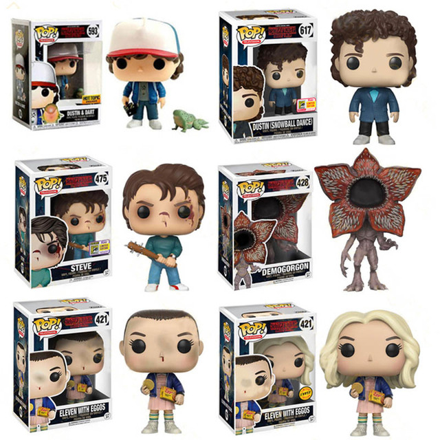 FUNKO POP Stranger Things Action Figure Toys Eleven Dustin Henderson 593# 617# Steve 475# Decoration Model Dolls for Kids Gifts 1