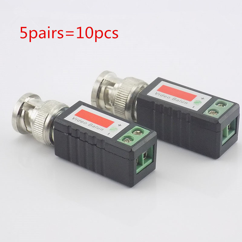 5 Pairs CCTV BNC Video Balun Twisted Passive Balun Transceiver BNC Male COAX CAT5 Camera UTP Cable Adapter Connector N11
