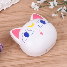 Lens Box Cartoon Cute Cat Portable Contact Storage Case Mirror Container Holder F3MD
