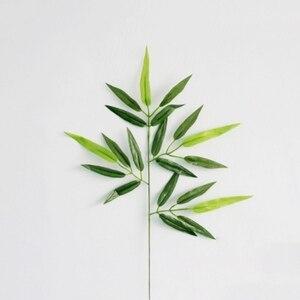 Image 2 - 5pcs סניפים ירוק מלאכותי במבוק עלים משי בד מלאכותי צמחים לחתונה קישוט בית משרד דקורטיבי עלים
