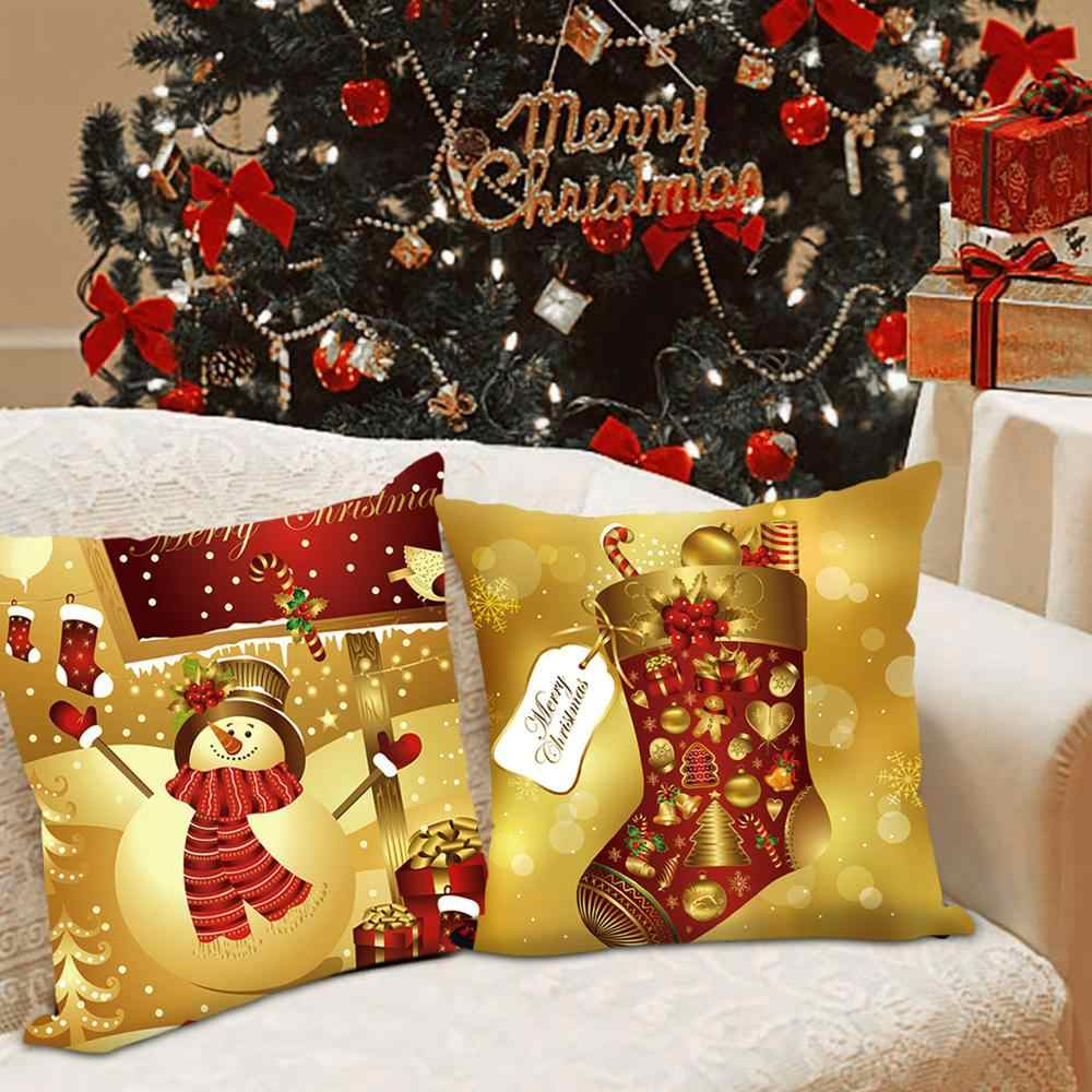 45X45Cm Natal Sarung Bantal Selamat Natal Dekorasi untuk Rumah 2020 Ornamen Natal Hadiah Natal Navidad Noel Baru tahun 2021